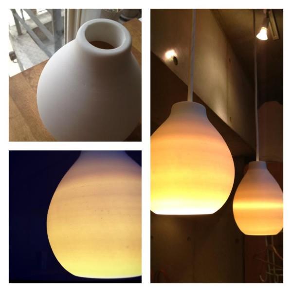 信楽焼 陶器の白い照明 ランプシェード
