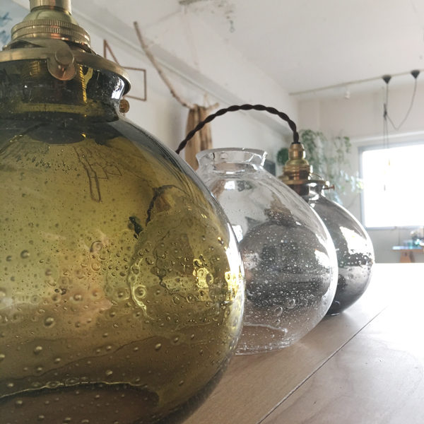 studio prepa スタジオプレパ 吹きガラスの照明 old glass lamp 気泡ガラス オールドガラスペンダントランプ