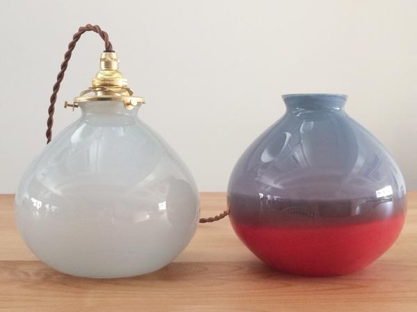 studio prepa スタジオプレパの照明 old glass lamp 気泡入りペンダントランプ 水色乳白